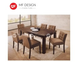 MF DESIGN Elo Big Table Dining Set (1 Tabble + 6 Chairs) - Modern Style [Full Solid Wood]